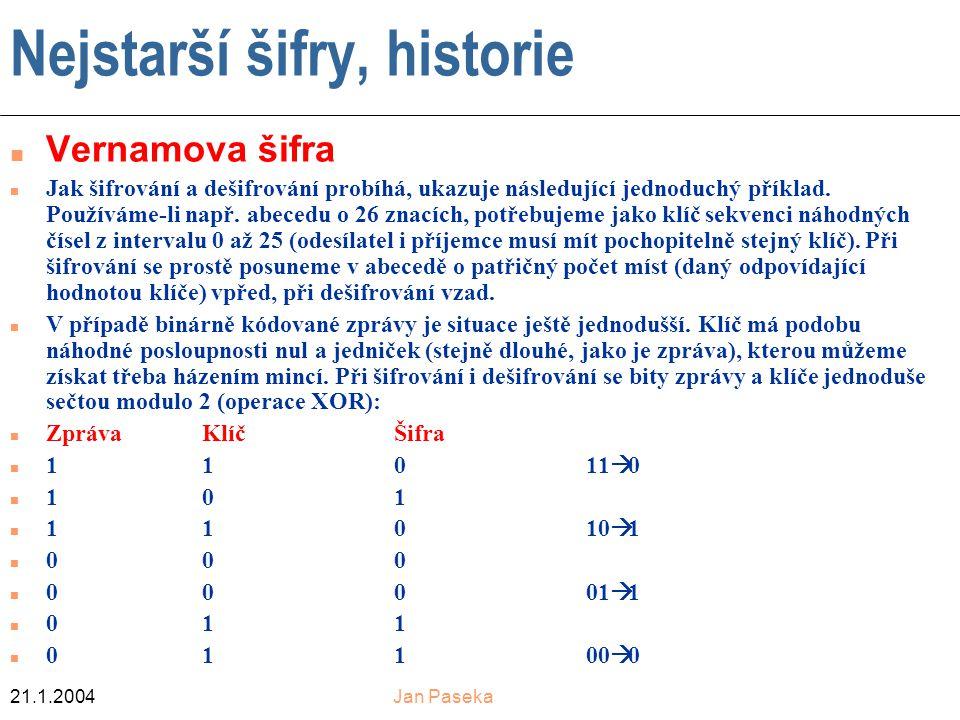 21.1.2004Jan Paseka Nejstarší šifry, historie Vernamova šifra n Jak šifrování a dešifrování probíhá, ukazuje následující jednoduchý příklad.