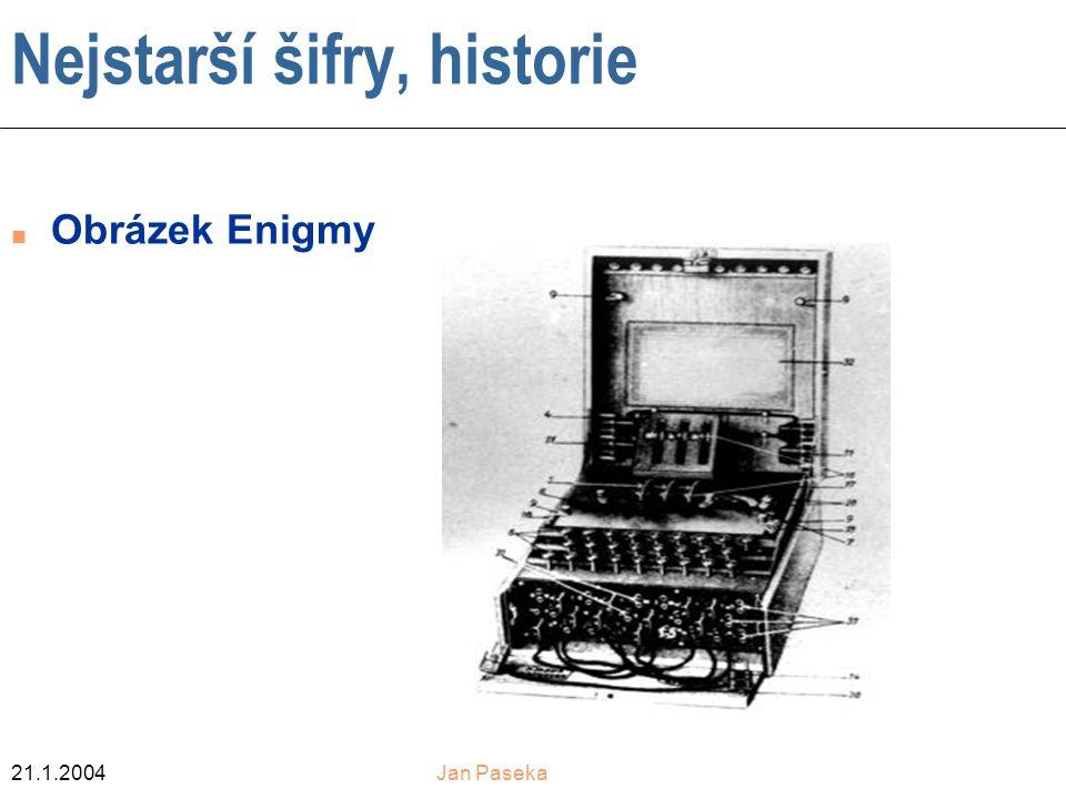 21.1.2004Jan Paseka Nejstarší šifry, historie n Obrázek Enigmy