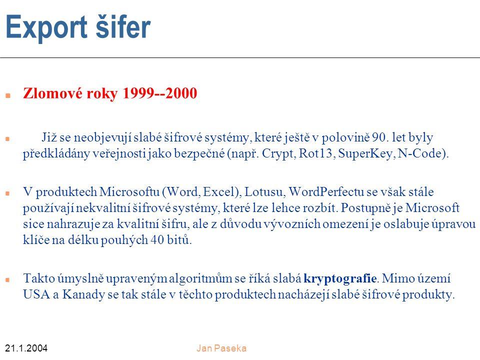 21.1.2004Jan Paseka Export šifer n Zlomové roky 1999--2000 Již se neobjevují slabé šifrové systémy, které ještě v polovině 90.