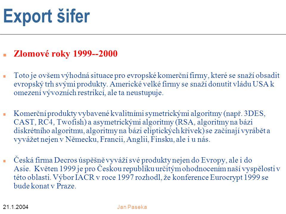 21.1.2004Jan Paseka Export šifer n Zlomové roky 1999--2000 n Toto je ovšem výhodná situace pro evropské komerční firmy, které se snaží obsadit evropský trh svými produkty.