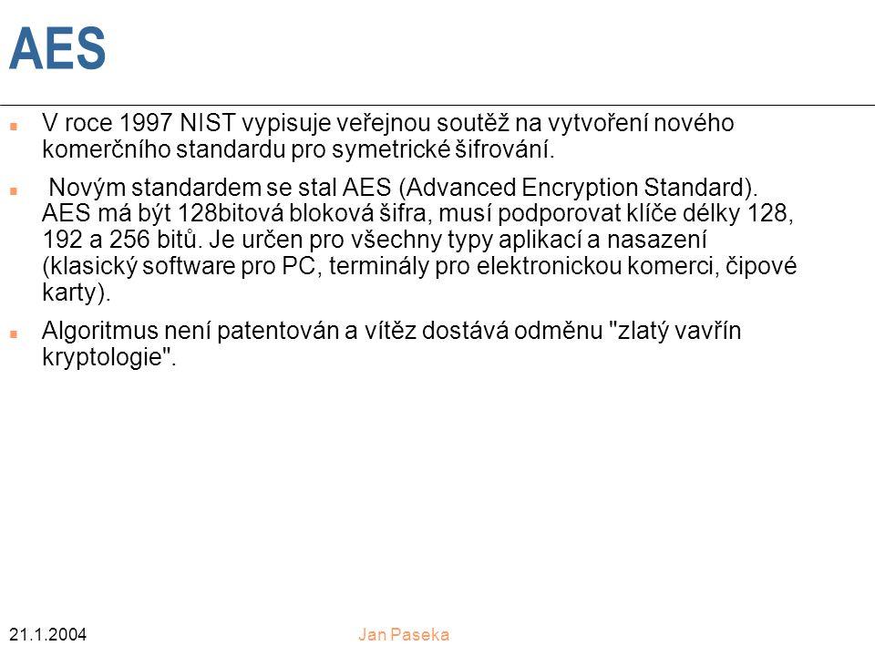 21.1.2004Jan Paseka AES n V roce 1997 NIST vypisuje veřejnou soutěž na vytvoření nového komerčního standardu pro symetrické šifrování.