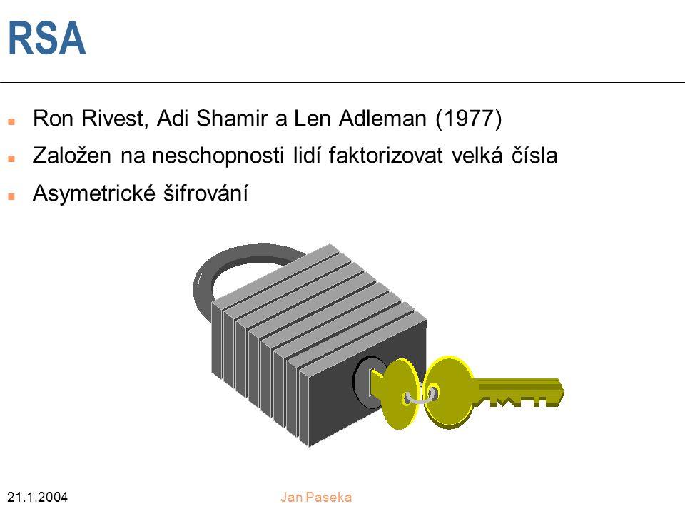 21.1.2004Jan Paseka RSA n Ron Rivest, Adi Shamir a Len Adleman (1977) n Založen na neschopnosti lidí faktorizovat velká čísla n Asymetrické šifrování