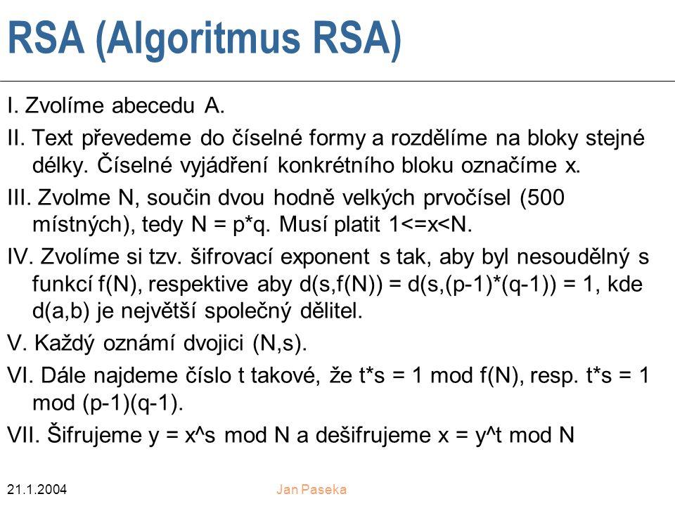 21.1.2004Jan Paseka RSA (Algoritmus RSA) I.Zvolíme abecedu A.
