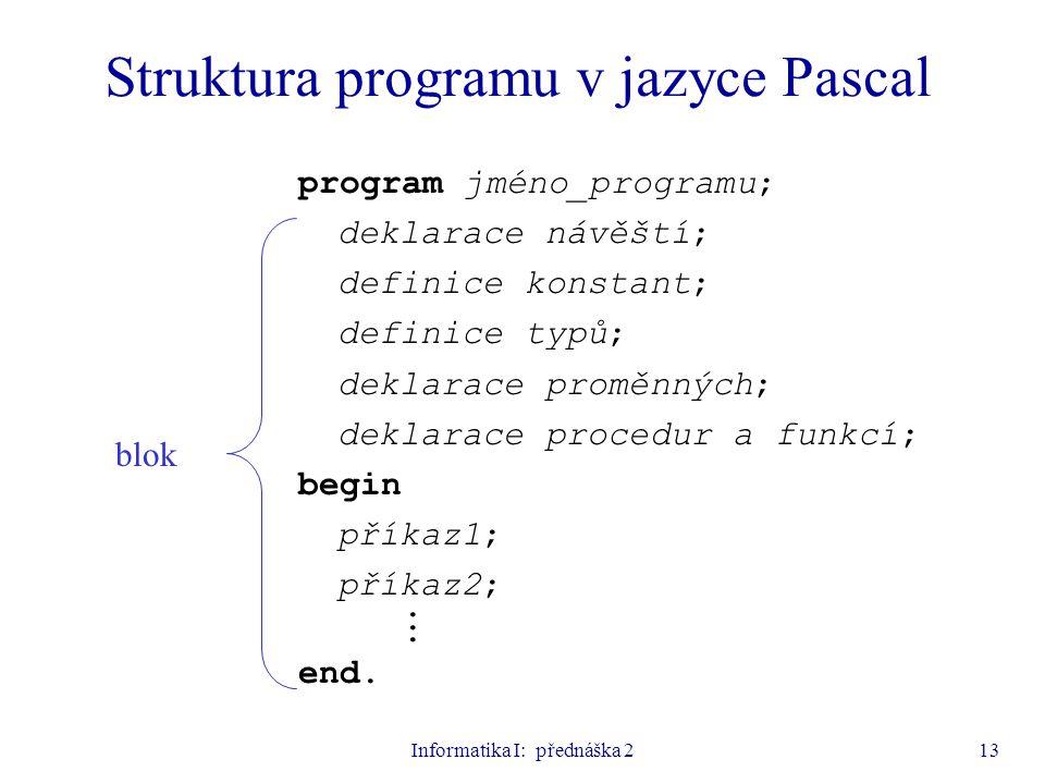Informatika I: přednáška 213 Struktura programu v jazyce Pascal program jméno_programu; deklarace návěští; definice konstant; definice typů; deklarace