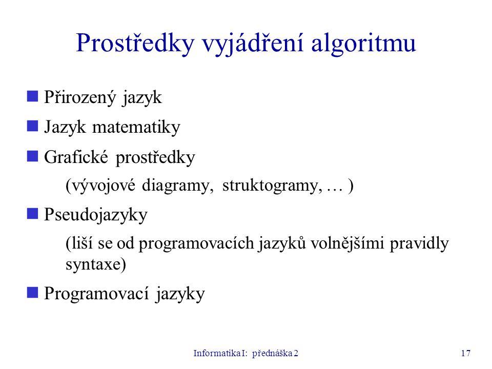 Informatika I: přednáška 217 Prostředky vyjádření algoritmu Přirozený jazyk Jazyk matematiky Grafické prostředky (vývojové diagramy, struktogramy, … )