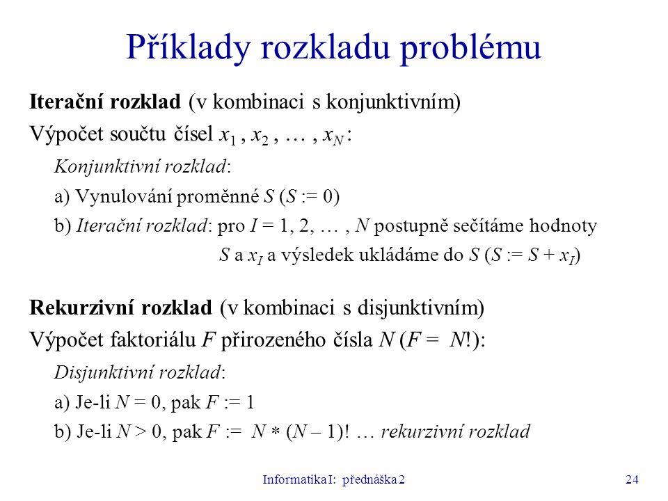 Informatika I: přednáška 224 Příklady rozkladu problému Iterační rozklad (v kombinaci s konjunktivním) Výpočet součtu čísel x 1, x 2, …, x N : Konjunk