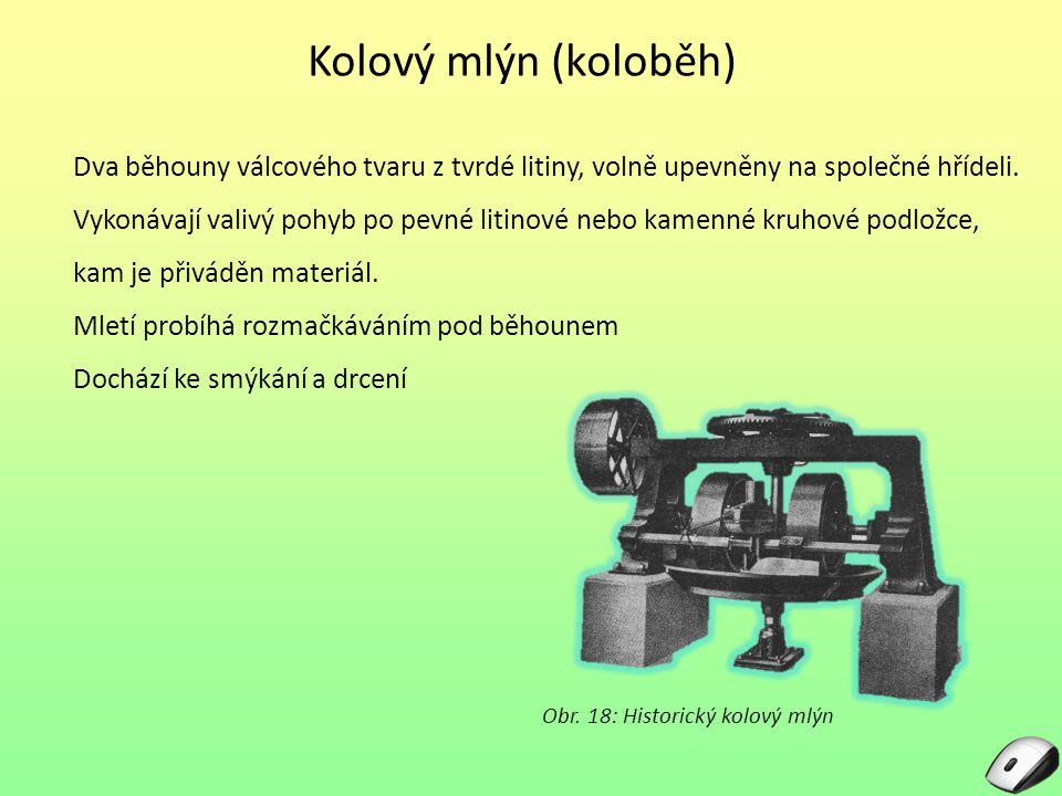 Kolíkový mlýn Kolíkový drtič (tlukadlový mlýn) Soustředné kruhy kolíků na rotoru a statoru vysoké otáčky přívod materiálu středem odvod okrajovou štěrbinou Obr.