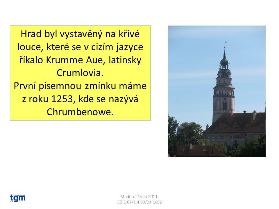 Moderní škola 2011, CZ.1.07/1.4.00/21.1692 Hrad byl vystavěný na křivé louce, které se v cizím jazyce říkalo Krumme Aue, latinsky Crumlovia.