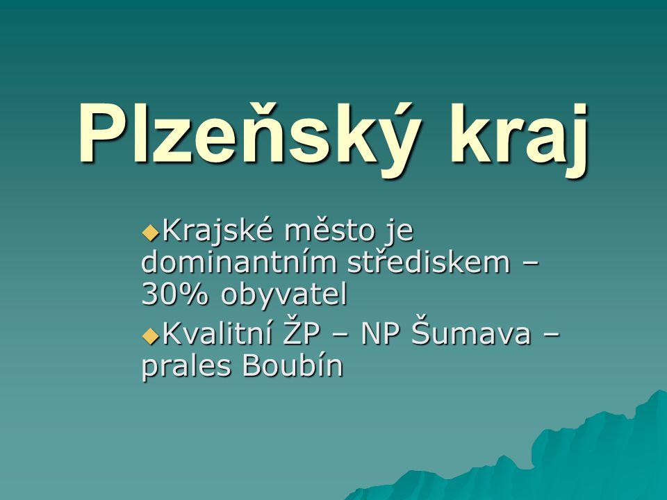 Plzeňský kraj  Krajské město je dominantním střediskem – 30% obyvatel  Kvalitní ŽP – NP Šumava – prales Boubín