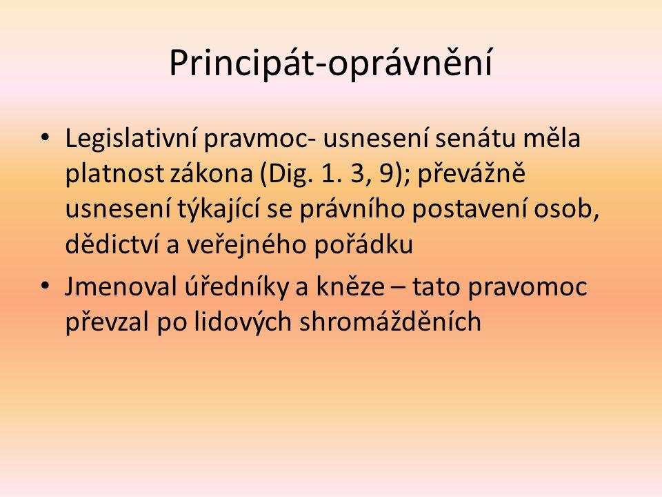 Principát-oprávnění Legislativní pravmoc- usnesení senátu měla platnost zákona (Dig. 1. 3, 9); převážně usnesení týkající se právního postavení osob,