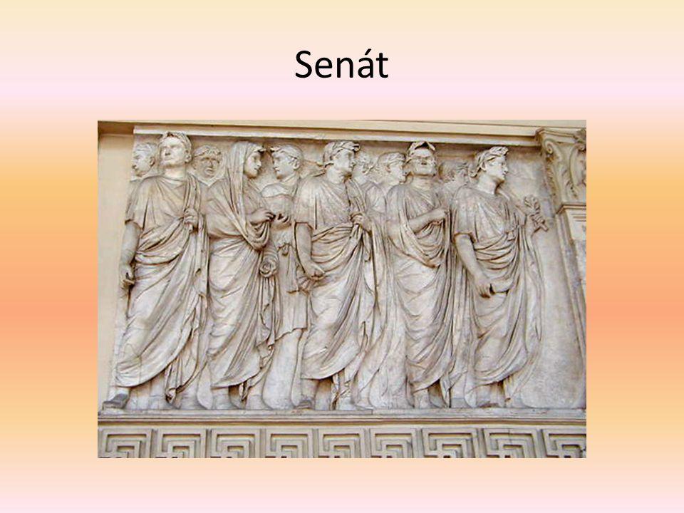Principát Vliv císaře Složení senátu Augustus: počet 600, census milión sesterciů Lex Julia de senatu z r.