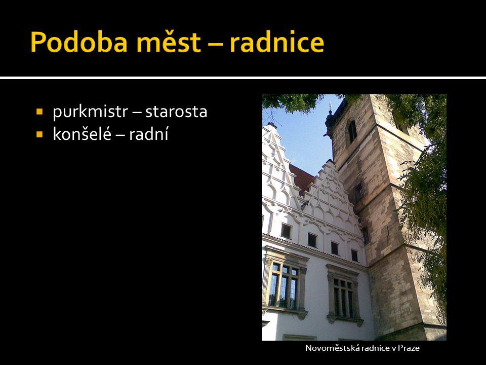  purkmistr – starosta  konšelé – radní Novoměstská radnice v Praze