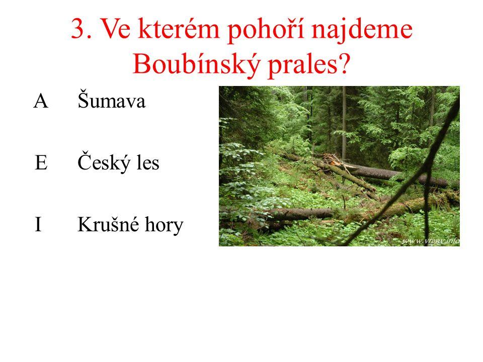 3. Ve kterém pohoří najdeme Boubínský prales? A Šumava EČeský les IKrušné hory