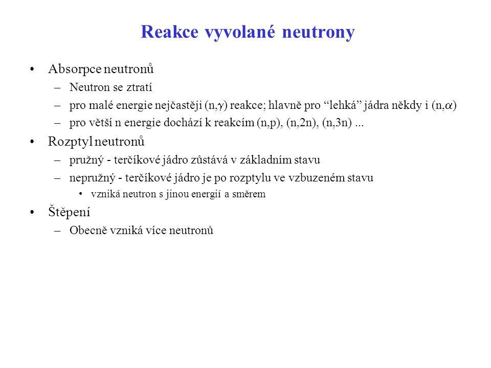 """Reakce vyvolané neutrony Absorpce neutronů –Neutron se ztratí –pro malé energie nejčastěji (n,  ) reakce; hlavně pro """"lehká"""" jádra někdy i (n,  ) –p"""
