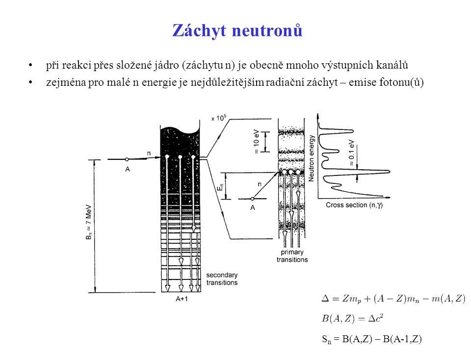 Záchyt neutronů při reakci přes složené jádro (záchytu n) je obecně mnoho výstupních kanálů zejména pro malé n energie je nejdůležitějším radiační zác