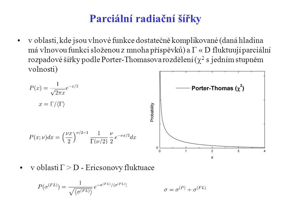 Parciální radiační šířky v oblasti, kde jsou vlnové funkce dostatečně komplikované (daná hladina má vlnovou funkci složenou z mnoha příspěvků) a  «