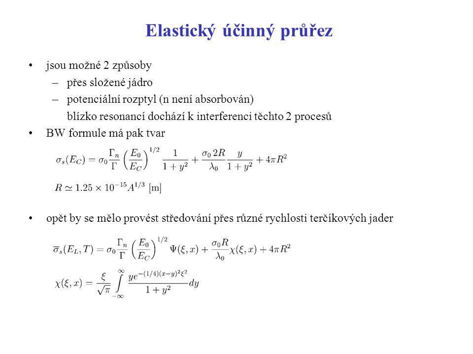 Elastický účinný průřez jsou možné 2 způsoby –přes složené jádro –potenciální rozptyl (n není absorbován) blízko resonancí dochází k interferenci těch