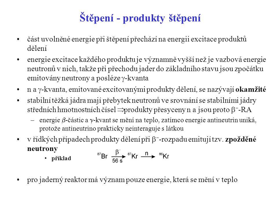 Štěpení - produkty štěpení část uvolněné energie při štěpení přechází na energii excitace produktů dělení energie excitace každého produktu je významn