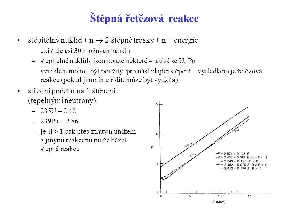 Štěpná řetězová reakce štěpitelný nuklid + n  2 štěpné trosky + n + energie –existuje asi 30 možných kanálů –štěpitelné nuklidy jsou pouze některé –