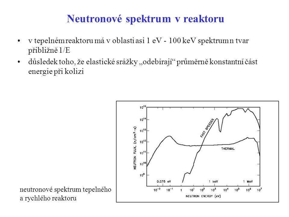 "Neutronové spektrum v reaktoru v tepelném reaktoru má v oblasti asi 1 eV - 100 keV spektrum n tvar přibližně 1/E důsledek toho, že elastické srážky ""o"