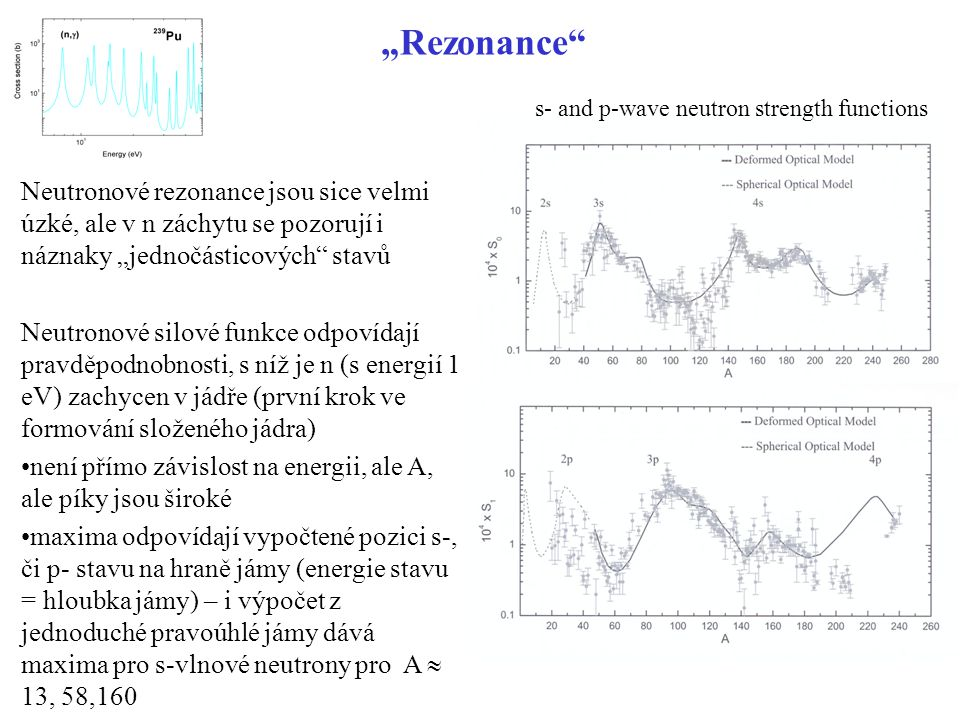 """Štěpení představu o velikosti potenciálové bariéry (E f ) dají experimentálně zjištěné energie štěpení  -kvanty z tabulky vyplývá, že energie štěpení u nejtěžších jader je 5.5 - 6 MeV a málo závisí na druhu jádra (asi pochopitelné z přístupu v rámci """"kapkového modelu) relativně malé výšky potenciálových bariér umožňují i spontánní dělení bude-li excitační energie jádra vzniklého při záchytu n vyšší než prahová energie štěpení, může se jádro štěpit excitační energie jádra po záchytu n bude rovna součtu separační energie n a jeho kinetické energie obecně - lichá terčíková jádra (sudé produkty) jsou štěpitelná, sudá nikoli je to důsledek """"párování nuklidseparační energie (MeV) 233 Th4.786 234 U6.844 236 U6.544 239 U4.806 240 Pu6.533 241 Pu5.241 nuklidprahová energie (MeV) 232 Th5.9 233 U5.5 235 U5.75 238 U5.85 239 Pu5.5"""