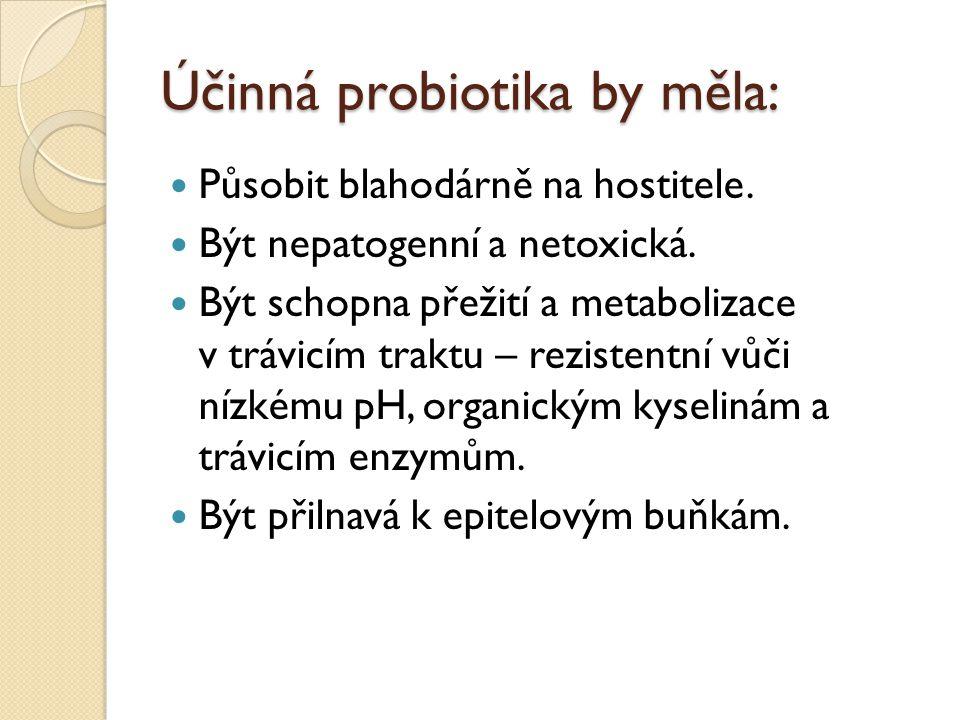 Účinná probiotika by měla: Působit blahodárně na hostitele. Být nepatogenní a netoxická. Být schopna přežití a metabolizace v trávicím traktu – rezist