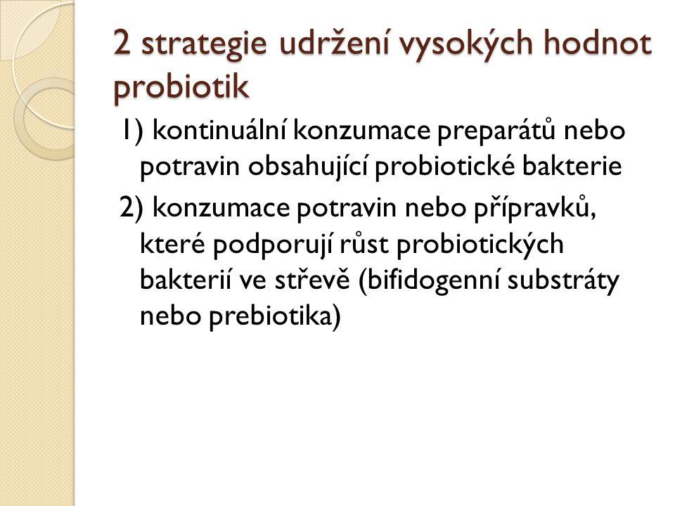 2 strategie udržení vysokých hodnot probiotik 1) kontinuální konzumace preparátů nebo potravin obsahující probiotické bakterie 2) konzumace potravin n