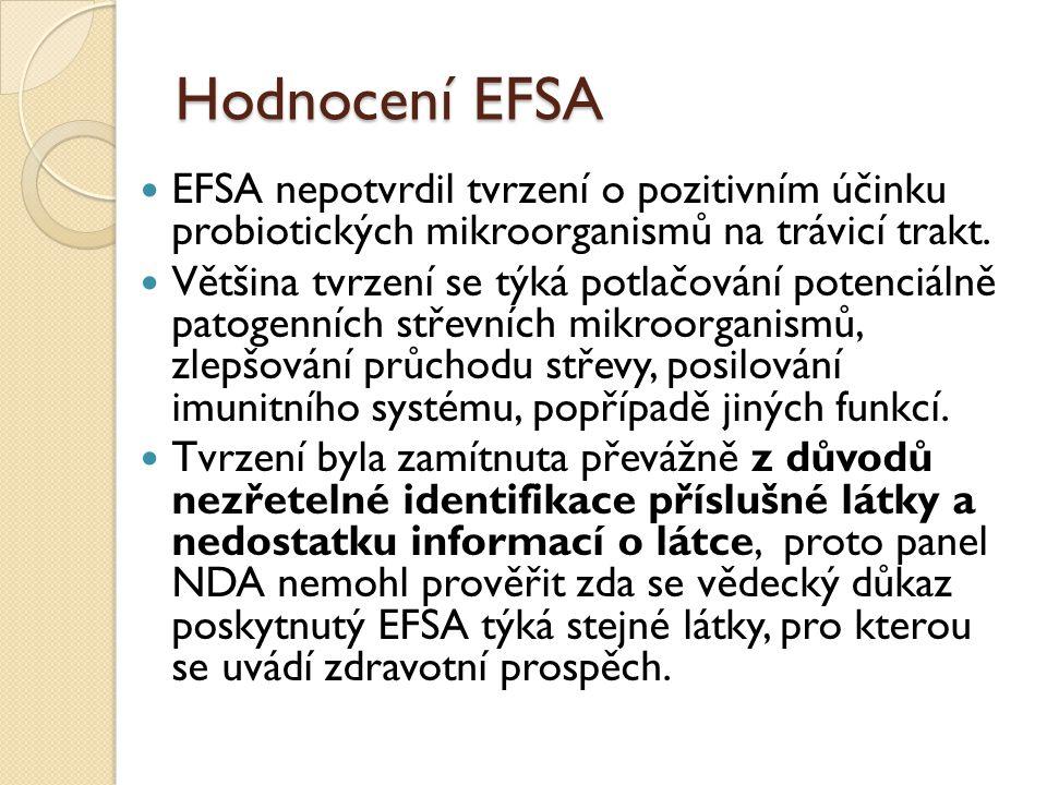Hodnocení EFSA EFSA nepotvrdil tvrzení o pozitivním účinku probiotických mikroorganismů na trávicí trakt. Většina tvrzení se týká potlačování potenciá