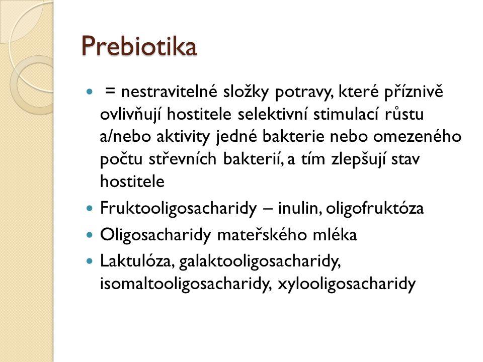 Prebiotika = nestravitelné složky potravy, které příznivě ovlivňují hostitele selektivní stimulací růstu a/nebo aktivity jedné bakterie nebo omezeného