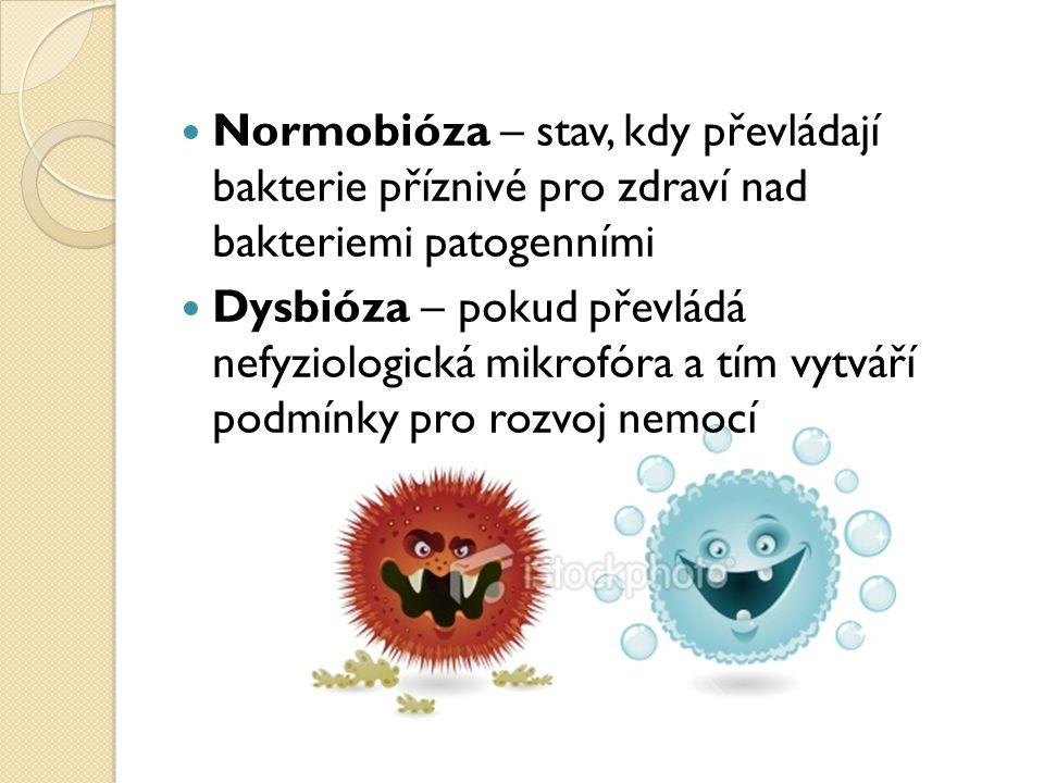 Normobióza – stav, kdy převládají bakterie příznivé pro zdraví nad bakteriemi patogenními Dysbióza – pokud převládá nefyziologická mikrofóra a tím vyt