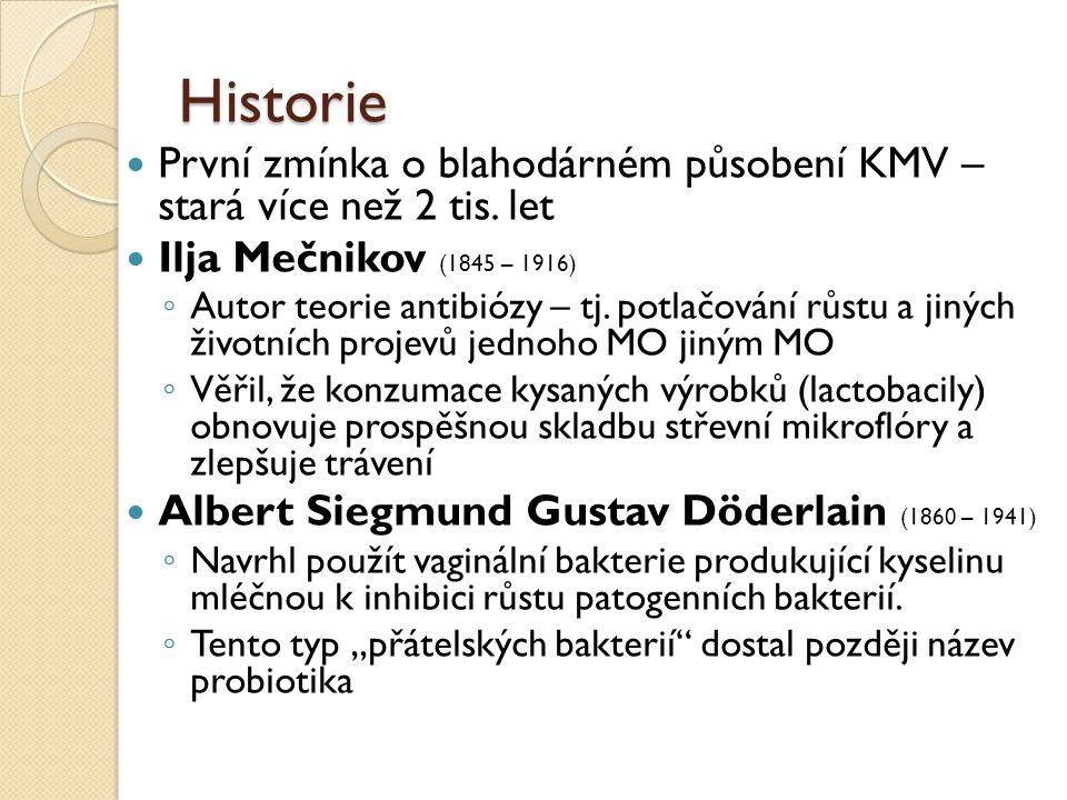 První zmínka o blahodárném působení KMV – stará více než 2 tis. let Ilja Mečnikov (1845 – 1916) ◦ Autor teorie antibiózy – tj. potlačování růstu a jin