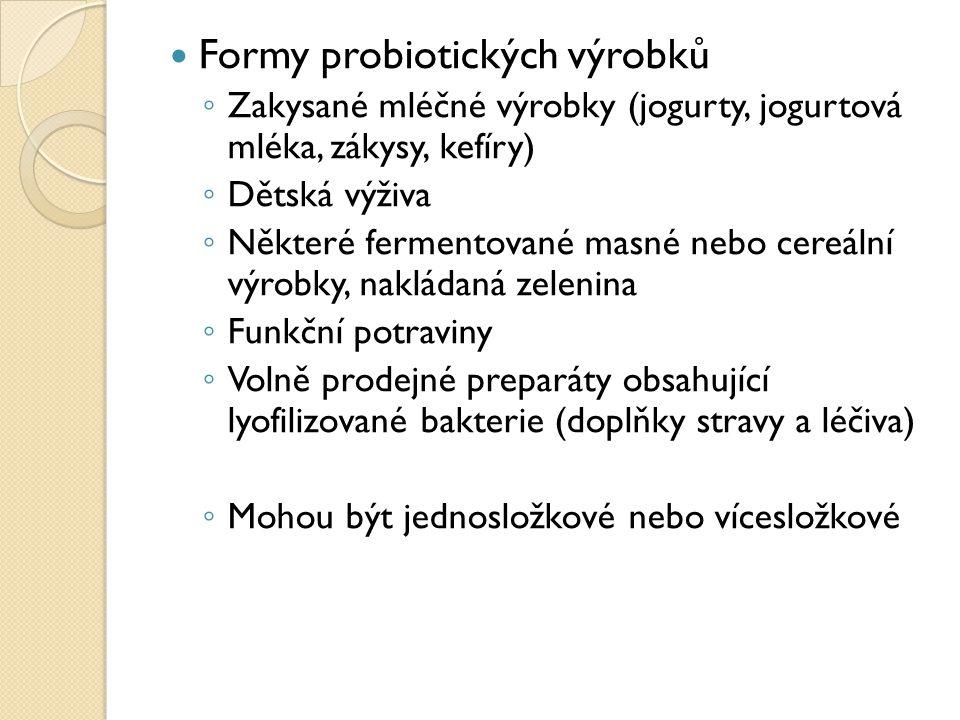 Formy probiotických výrobků ◦ Zakysané mléčné výrobky (jogurty, jogurtová mléka, zákysy, kefíry) ◦ Dětská výživa ◦ Některé fermentované masné nebo cer