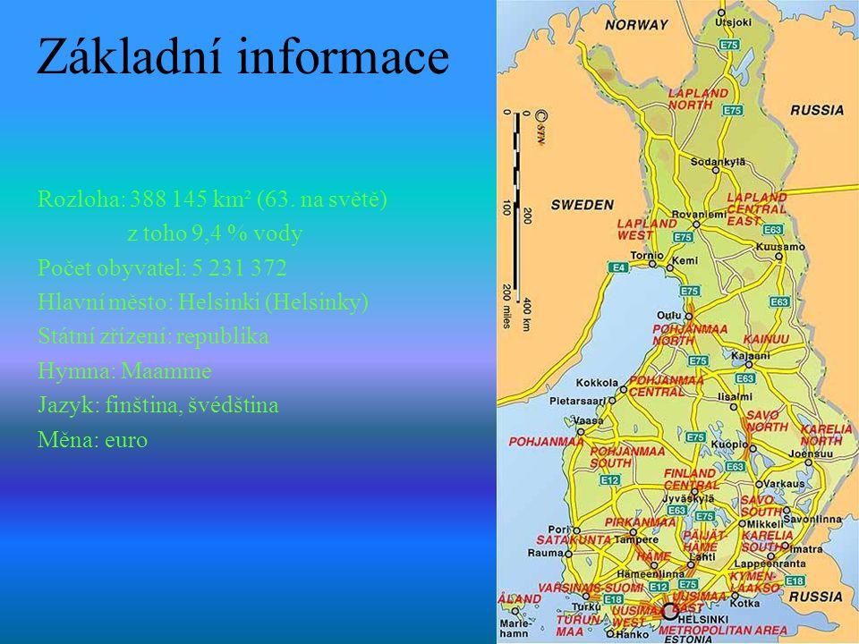 Základní informace Rozloha: 388 145 km² (63. na světě) z toho 9,4 % vody Počet obyvatel: 5 231 372 Hlavní město: Helsinki (Helsinky) Státní zřízení: r