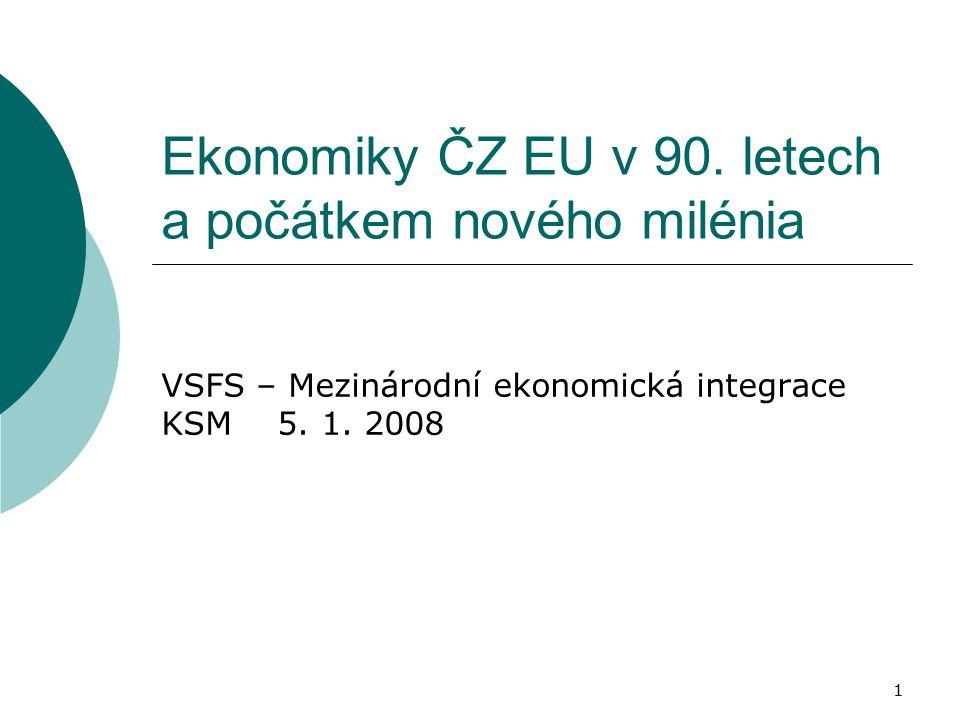 1 Ekonomiky ČZ EU v 90. letech a počátkem nového milénia VSFS – Mezinárodní ekonomická integrace KSM 5. 1. 2008