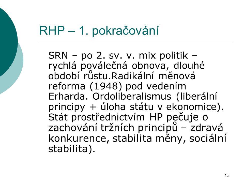 13 RHP – 1. pokračování SRN – po 2. sv. v. mix politik – rychlá poválečná obnova, dlouhé období růstu.Radikální měnová reforma (1948) pod vedením Erha