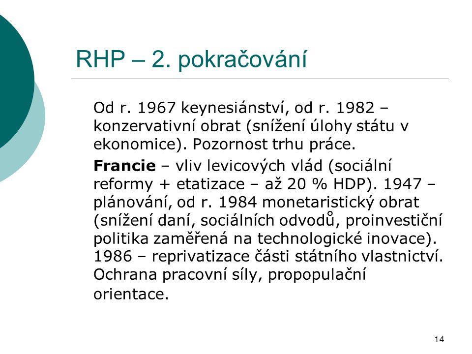 14 RHP – 2. pokračování Od r. 1967 keynesiánství, od r. 1982 – konzervativní obrat (snížení úlohy státu v ekonomice). Pozornost trhu práce. Francie –