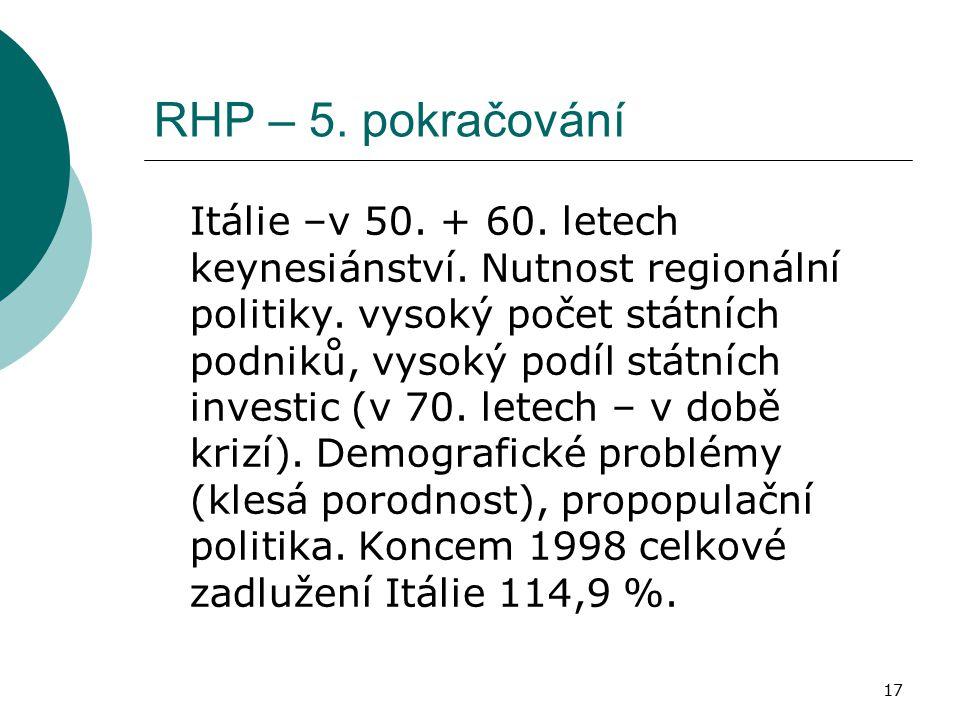 17 RHP – 5. pokračování Itálie –v 50. + 60. letech keynesiánství. Nutnost regionální politiky. vysoký počet státních podniků, vysoký podíl státních in