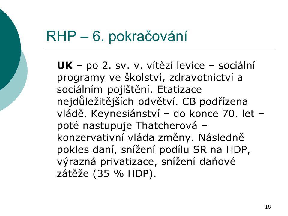 18 RHP – 6. pokračování UK – po 2. sv. v.