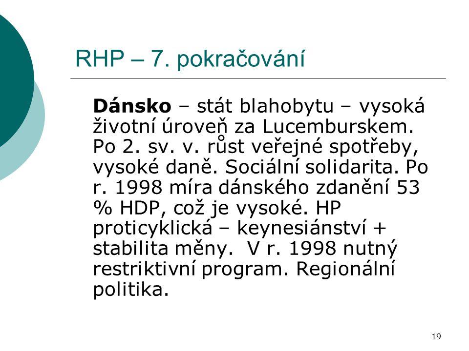 19 RHP – 7. pokračování Dánsko – stát blahobytu – vysoká životní úroveň za Lucemburskem. Po 2. sv. v. růst veřejné spotřeby, vysoké daně. Sociální sol