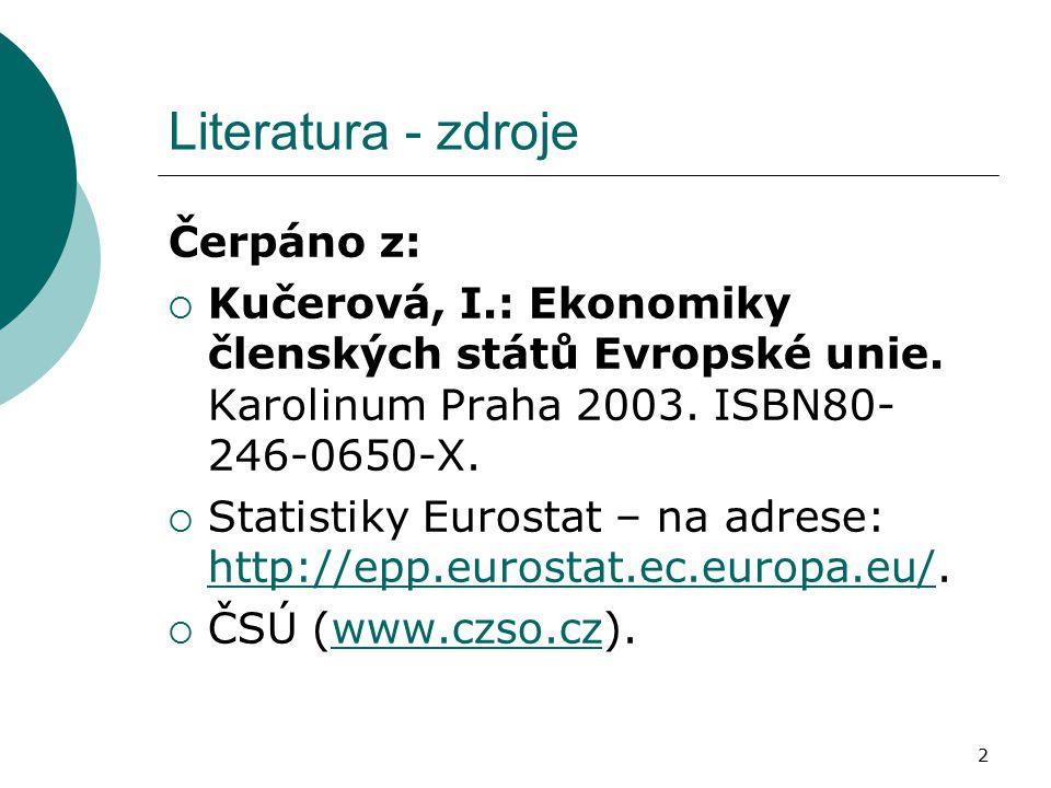 2 Literatura - zdroje Čerpáno z:  Kučerová, I.: Ekonomiky členských států Evropské unie. Karolinum Praha 2003. ISBN80- 246-0650-X.  Statistiky Euros