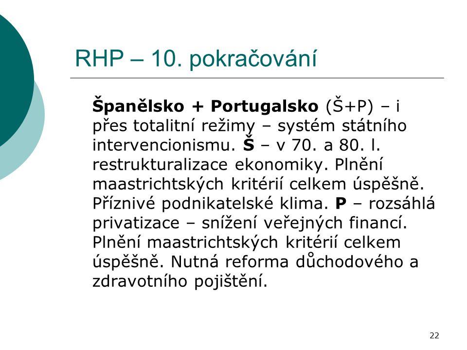 22 RHP – 10. pokračování Španělsko + Portugalsko (Š+P) – i přes totalitní režimy – systém státního intervencionismu. Š – v 70. a 80. l. restrukturaliz