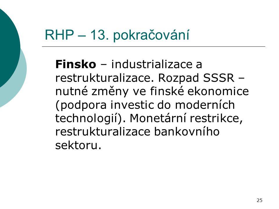 25 RHP – 13. pokračování Finsko – industrializace a restrukturalizace. Rozpad SSSR – nutné změny ve finské ekonomice (podpora investic do moderních te