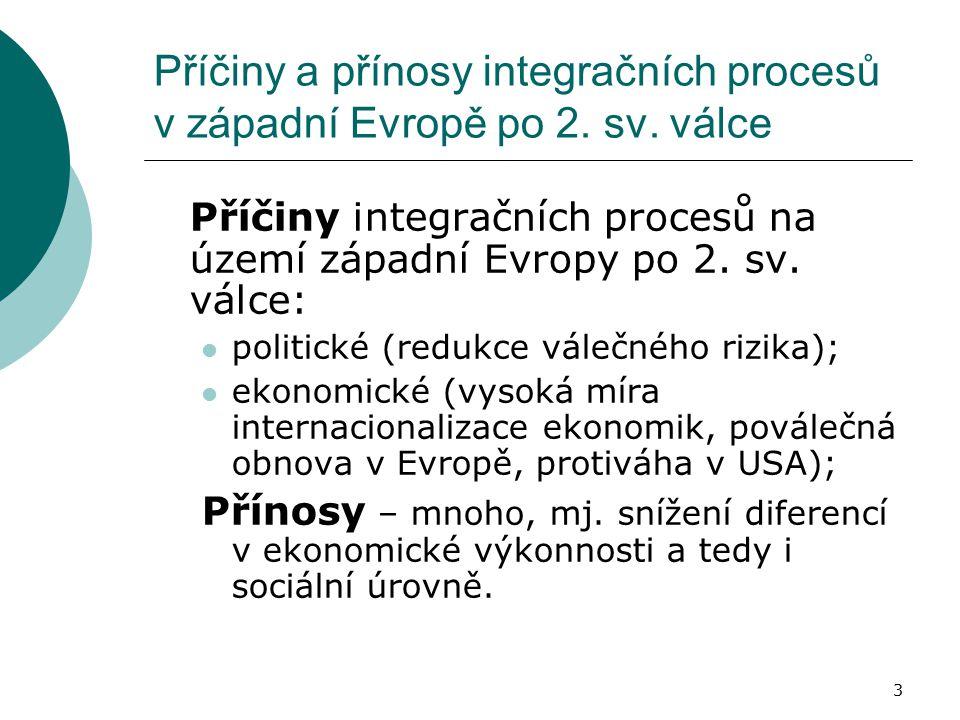 3 Příčiny a přínosy integračních procesů v západní Evropě po 2. sv. válce Příčiny integračních procesů na území západní Evropy po 2. sv. válce: politi