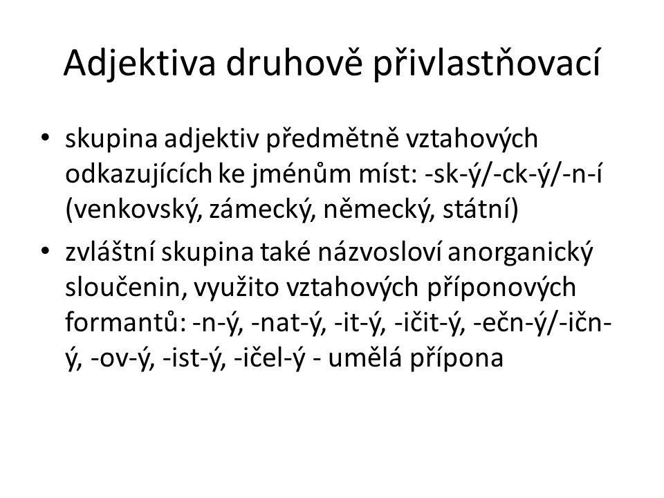 Adjektiva druhově přivlastňovací skupina adjektiv předmětně vztahových odkazujících ke jménům míst: -sk-ý/-ck-ý/-n-í (venkovský, zámecký, německý, stá