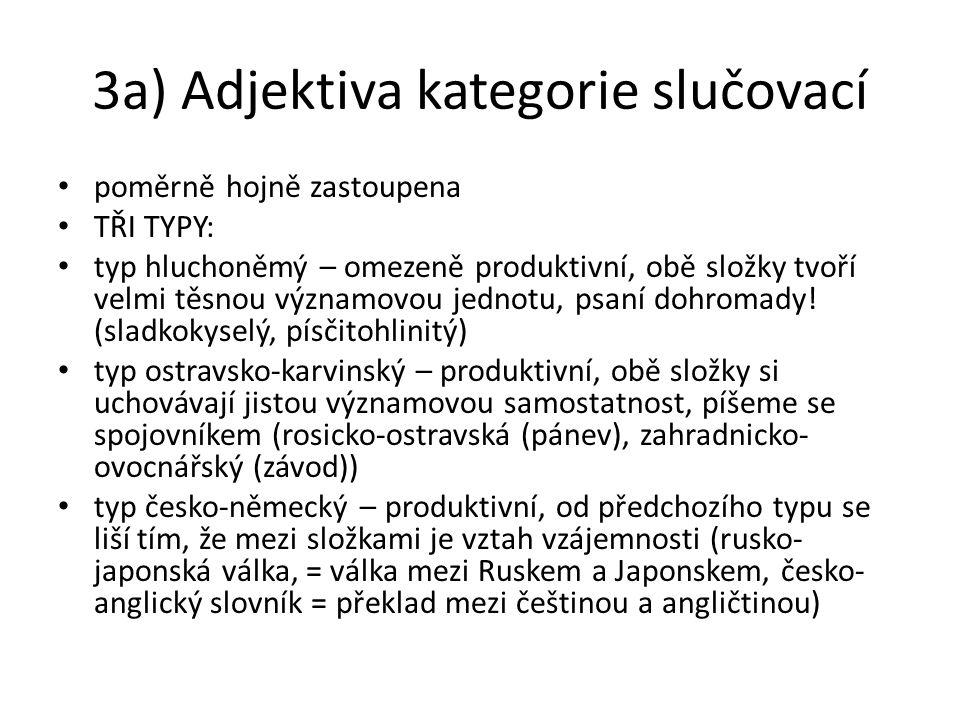 3a) Adjektiva kategorie slučovací poměrně hojně zastoupena TŘI TYPY: typ hluchoněmý – omezeně produktivní, obě složky tvoří velmi těsnou významovou je