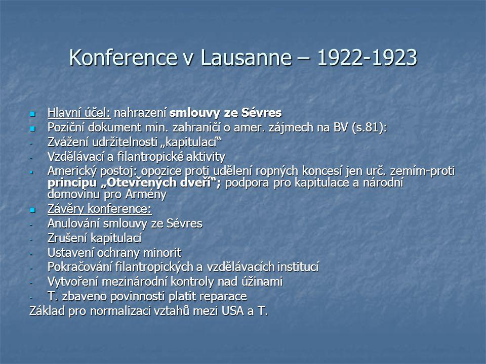 Konference v Lausanne – 1922-1923 Hlavní účel: nahrazení smlouvy ze Sévres Hlavní účel: nahrazení smlouvy ze Sévres Poziční dokument min.