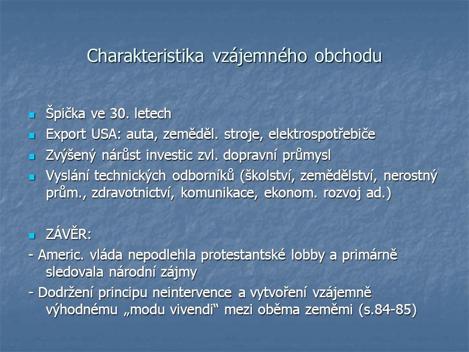 Charakteristika vzájemného obchodu Špička ve 30. letech Špička ve 30.