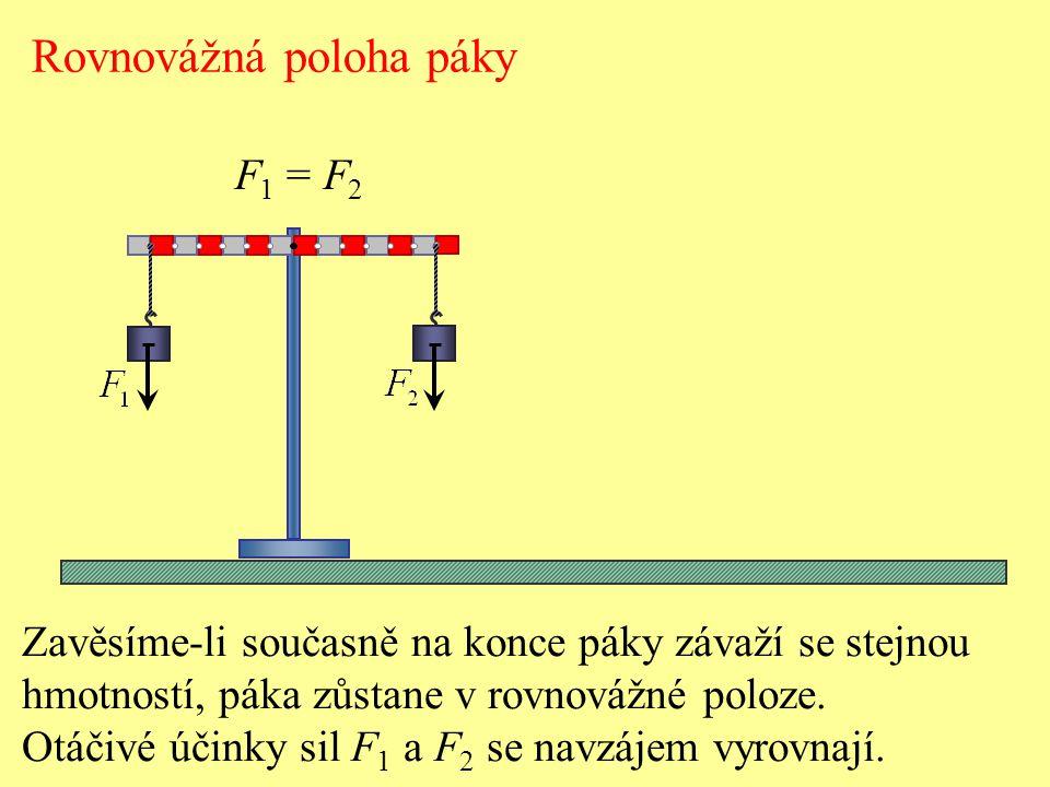 Rovnovážná poloha páky Zavěsíme-li na páku závaží s dvojnásobnou hmotností, v určité poloze závaží páka zůstane v rovnovážné poloze.