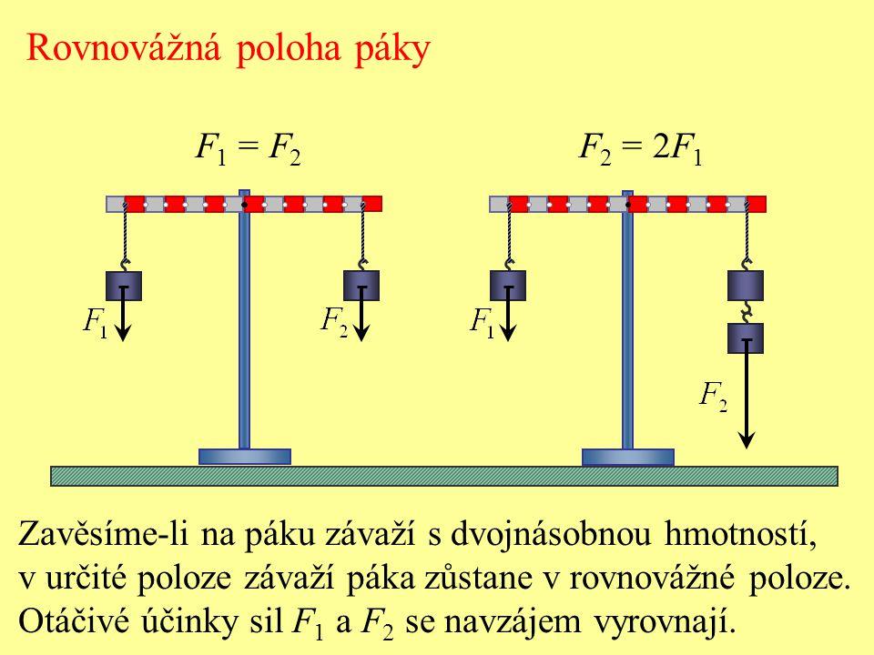 Rovnovážná poloha páky F 1 = F 2 F 2 = 2F 1 Otáčivé účinky síly na těleso nezávisí jenom na její velikosti a směru, ale také na tom, v jaké vzdálenosti od osy otáčení síla působí.
