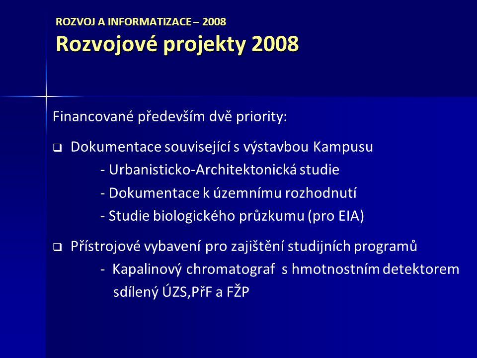ROZVOJ A INFORMATIZACE – 2008 Rozvojové projekty 2008 Financované především dvě priority:   Dokumentace související s výstavbou Kampusu - Urbanisticko-Architektonická studie - Dokumentace k územnímu rozhodnutí - Studie biologického průzkumu (pro EIA)   Přístrojové vybavení pro zajištění studijních programů - Kapalinový chromatograf s hmotnostním detektorem sdílený ÚZS,PřF a FŽP